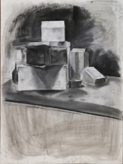boxes, charcoal on paper