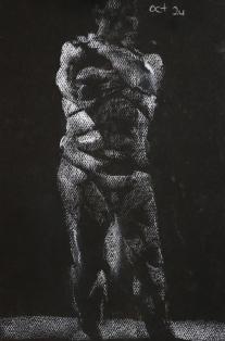 white pastel on black paper, 2013