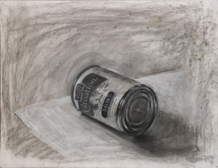 evaporated milk, charcoal on paper